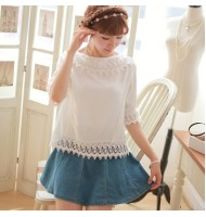 Round Neck with Lace Blouse