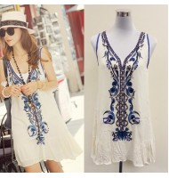 Embroidery Beading Loose Dress