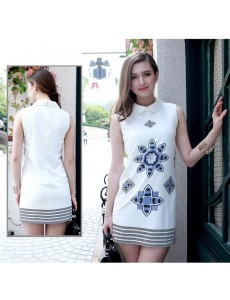 Chiffon Porcelain Drawing Sleeveless Dress