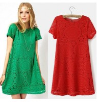 Euro-American Short-sleeved Lace Dress