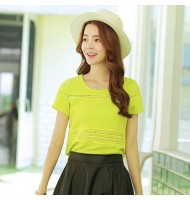 Quilted Hollow Fluorescent Green Blouse