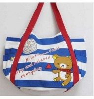 Rilakkuma Blue White Stripes Canvas Bag