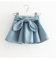 Girls Big Bows Denim Skirt