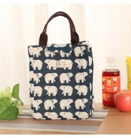 Polar Bear Pattern Canvas Portable Insulated Lunch Bag
