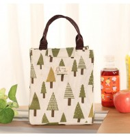 Tree Pattern Canvas Portable Insulated Lunch Bag
