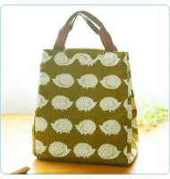 Hedgehog Pattern Canvas Portable Insulated Lunch Bag