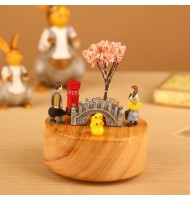 [Defect] DIY Jimmy Type Cartoon Scene Rotating Wooden Music Box AB1910