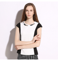 Black and White Contrast Color Top