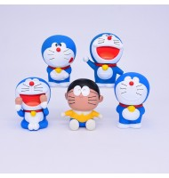 Doraemon Nobita in set 5 Model Rubber Figurine Ornaments Display