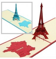 3D Carved Eiffel Tower Handmade Pop up Greeting Cards