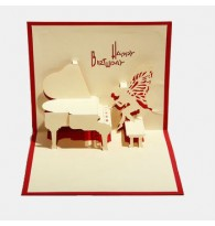 3D Carved Piano Handmade Pop up Greeting Cards