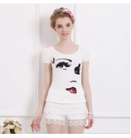 [Defect] Big Eye Puff Sleeve T-shirt FAB00210