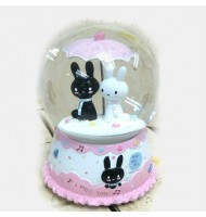 [Defect] Bunny Umbrella Crystal Ball Musical Box CS0106